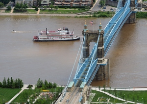 Belle of Cincinnati & John A Roebling Suspension Bridge